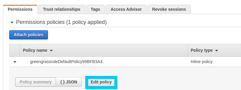 Greengrass Docker edit role policy
