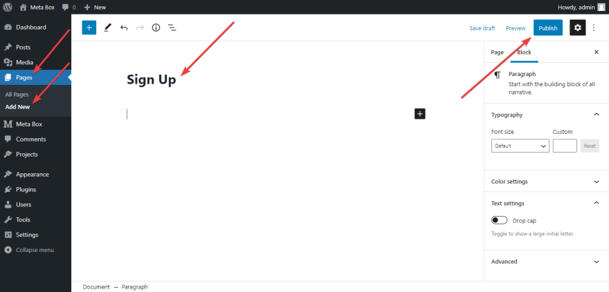 create a blank page on the WordPress website