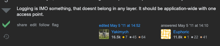 StackOverflow much approved answer