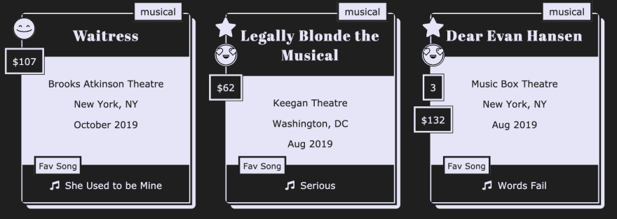 theater log cards