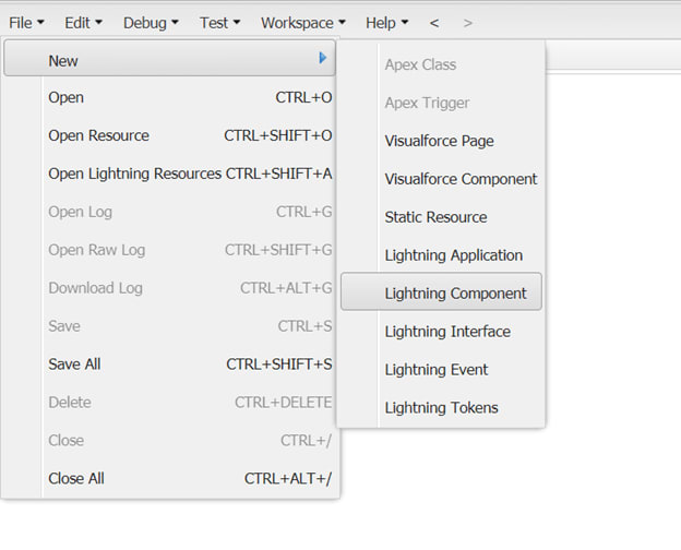 In the Developer Console window, select File->New-> Lightning Component