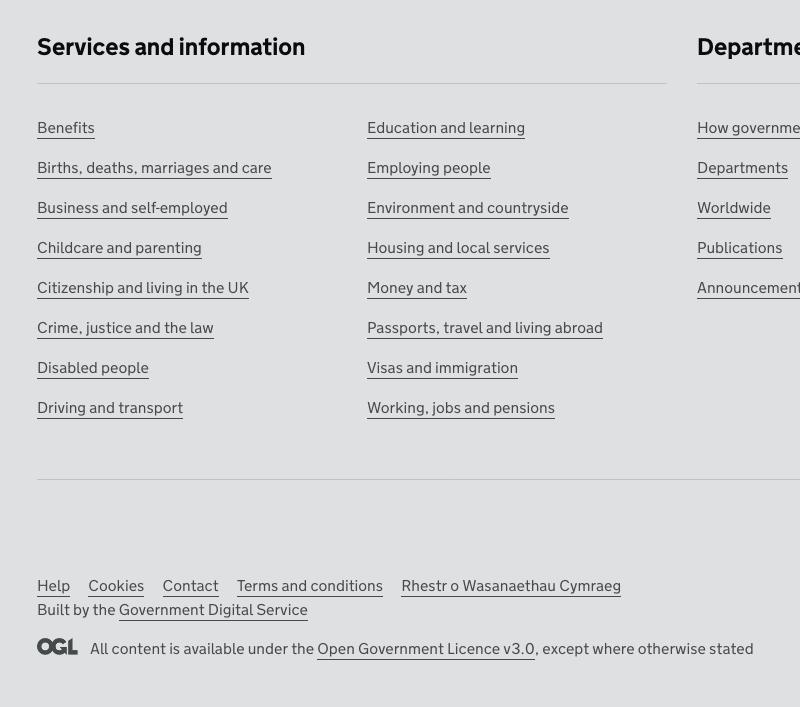 Screenshot of gov.uk footer section