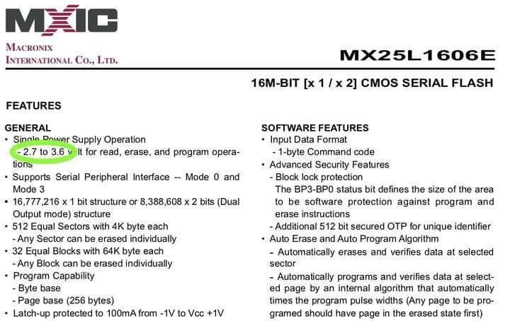 MX25L1606E Flash Chip Spec