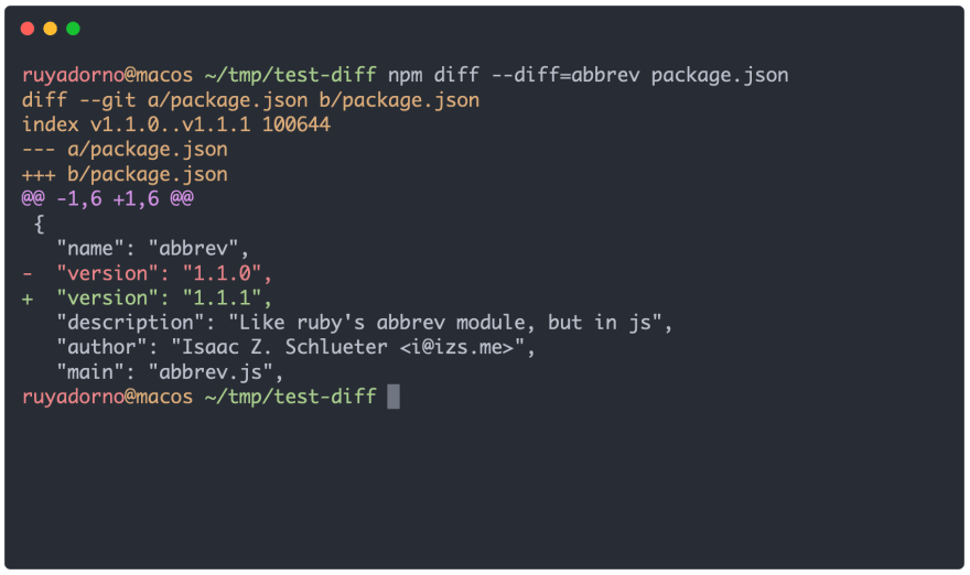 npm diff usage example