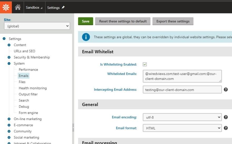 Email whitelist settings UI