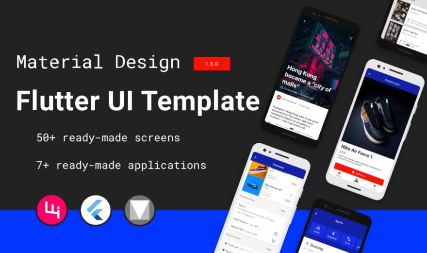 Multipurpose Flutter Template based on Material Design. best flutter app templates