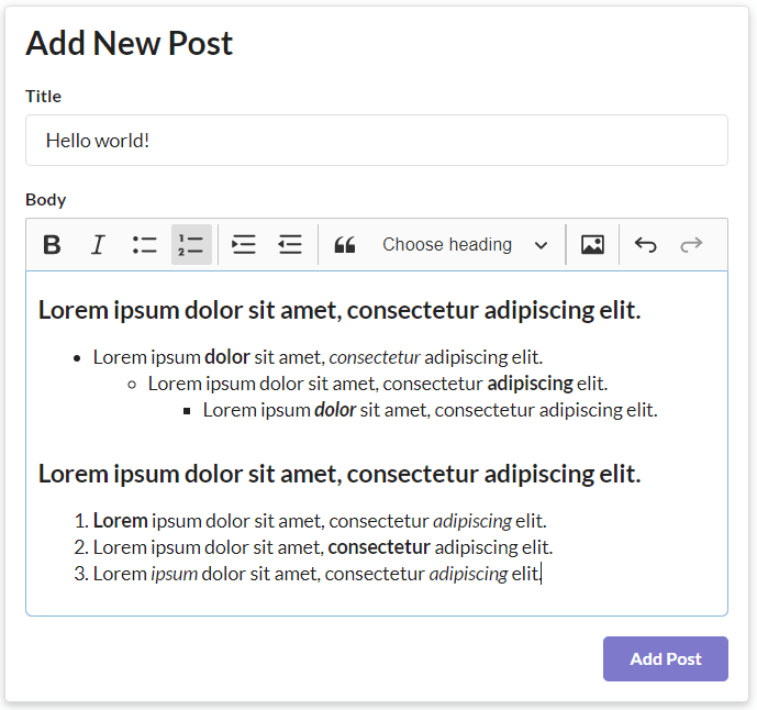 The 'Create New Post' page of my app. Shows the CKEditor toolbar and some sample text that display it's usage.