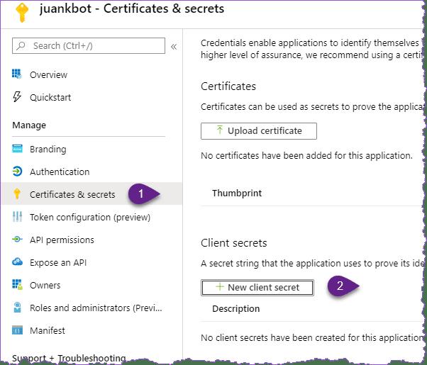 New client secret