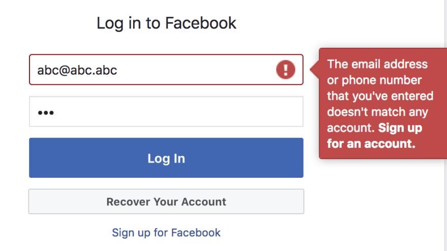 'Facebook login error message'