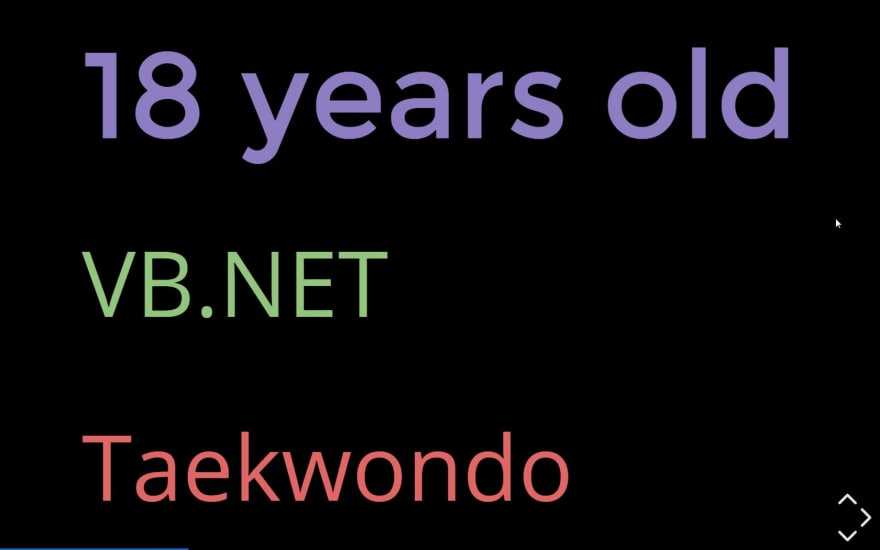 18 years old: VB.NET; Taekwondo