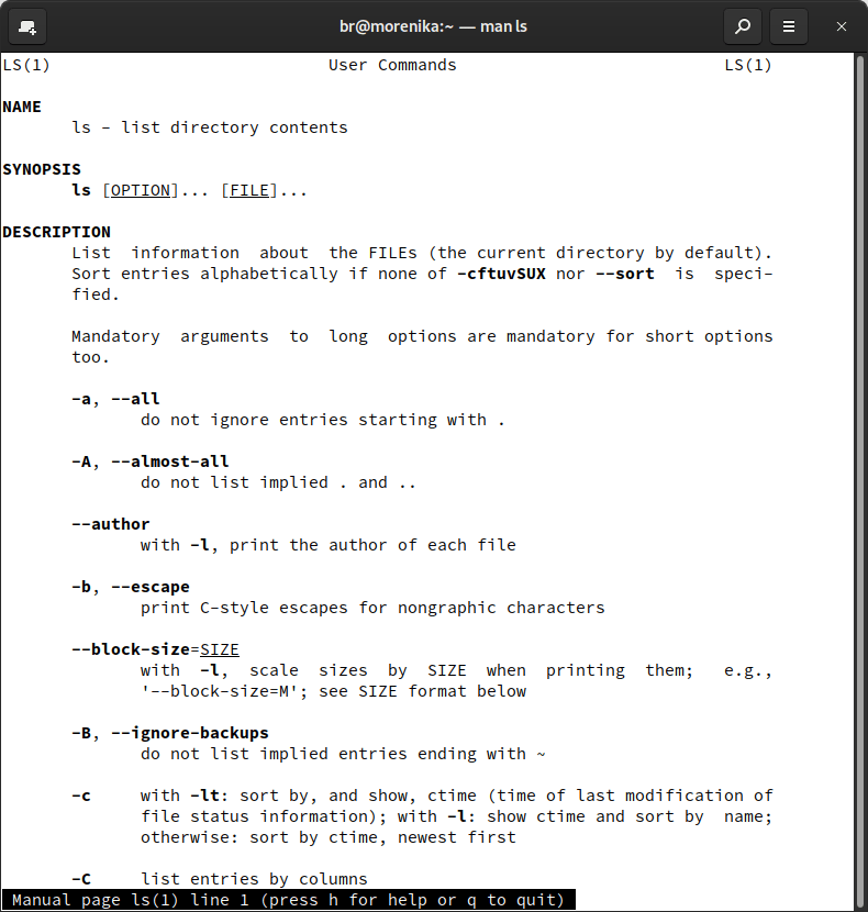 `man ls` displays the manual of the `ls` command: everything you need to know about what `ls` can be used for.