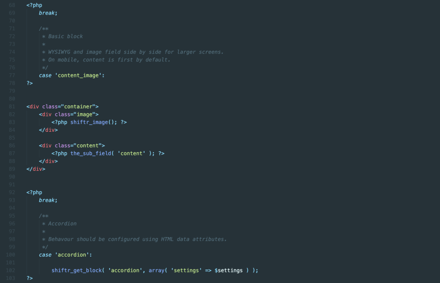 Screenshot from VS Code showing a snippet of the PHP code that makes up the Flexi template