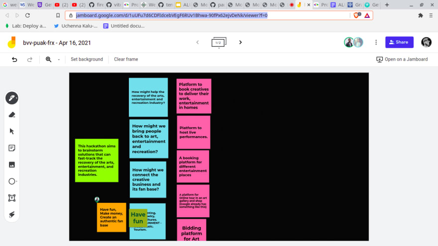 Our google Jamboard for brainstorming