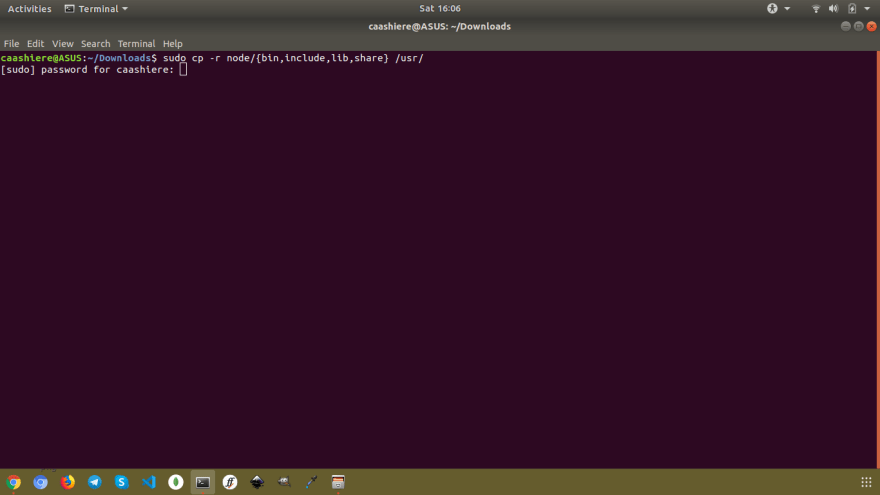A screenshot of Downloads directory (Ubuntu) opened in terminal, asking me to enter password