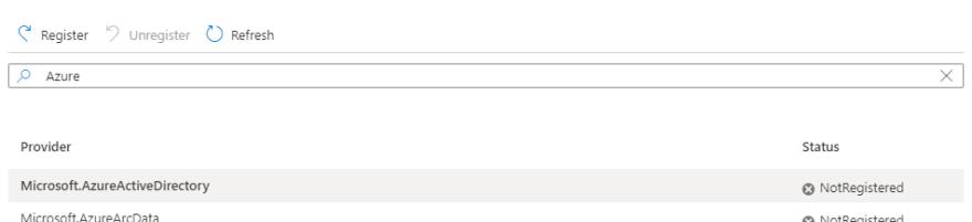 Recherche de Microsoft.AzureActiveDirectory