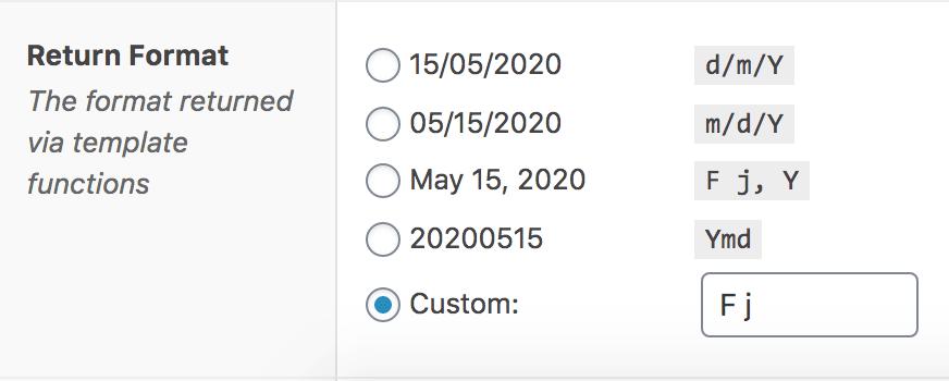 Advanced Custom Field for Event custom date return