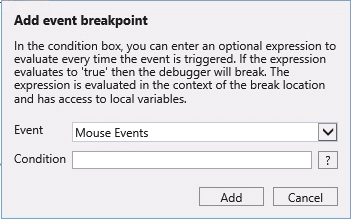 Add event breakpoint Internet Explorer debugging