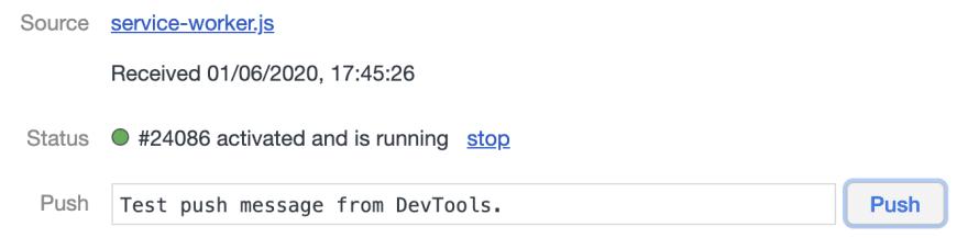Send test push notification