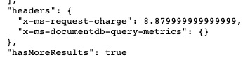 Headers from Cosmos DB query