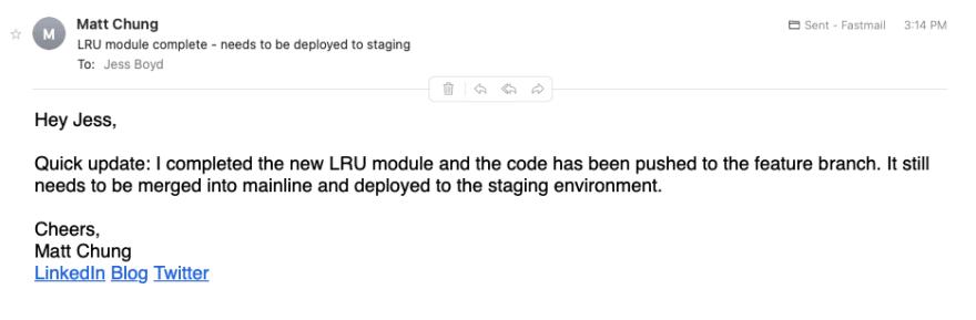 Email status update