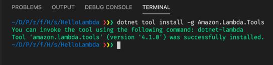 Install dotnet lambda tool