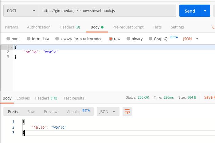Postman sample API request works
