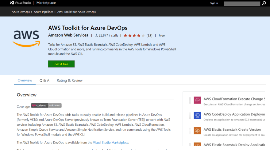 AWS Toolkit for Azure DevOps extension