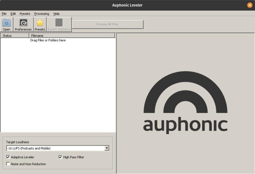 Auphonic running on Pop!_OS