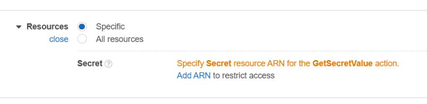 Add resource-specific ARN
