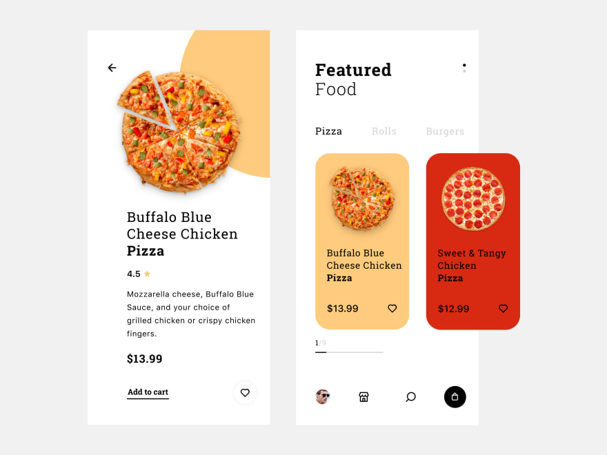 Pizza Delivery App mockup from Shahin Srowar on Dribble