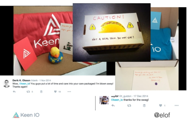 examples of swag boxes with taco stickers and handwritten messages