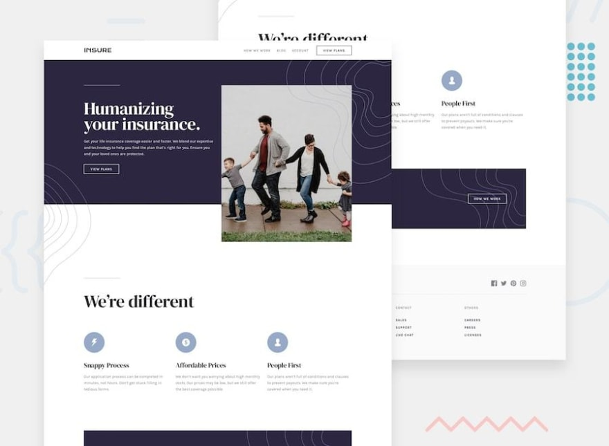 Design preview for the Insure landing page challenge