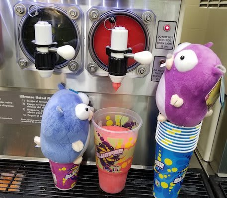 My Gopher plushies, Gostavo and Gophelia, putting a cup under the Slurpee machine at 7-Eleven. They're reading slushies into the cup!