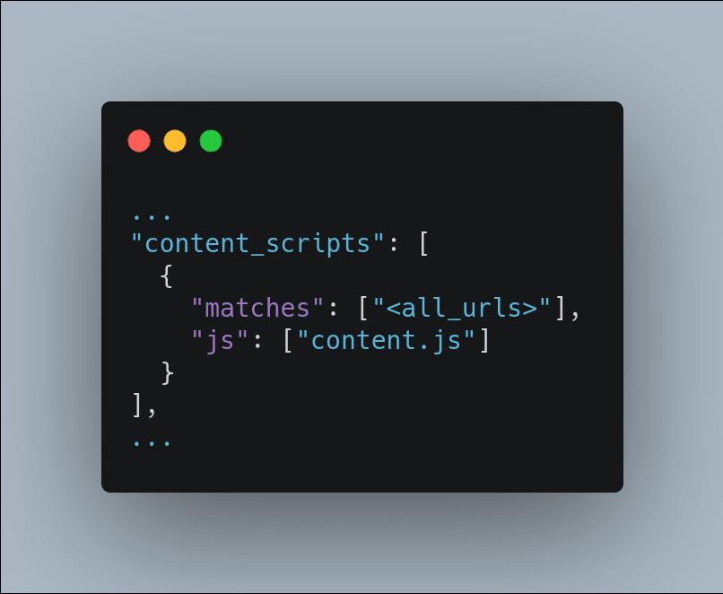 adding content.js as a content script on the manifest.json