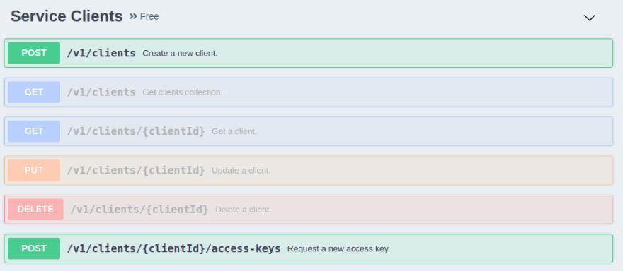 Create service client REST API