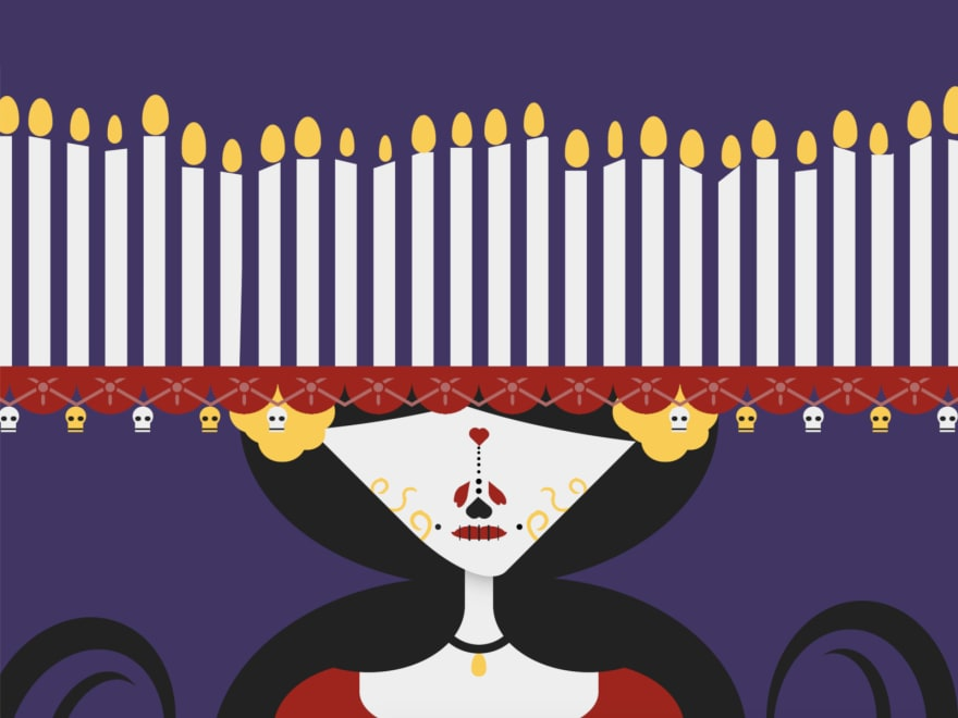 Cartoon of La Muerte, a traditional Mexican figure associated with the Day of the Dead