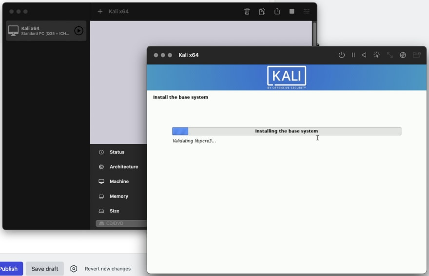 Kali x64 installing in UTM on M1 MacBook Pro