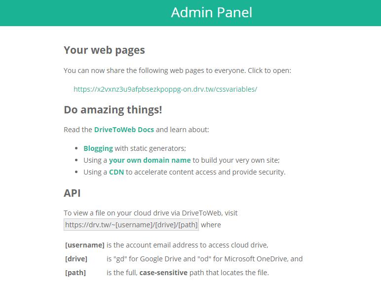 Drive to Web Admin