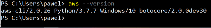 AWSCLI version 2. Notice, in my example it is Powershell version