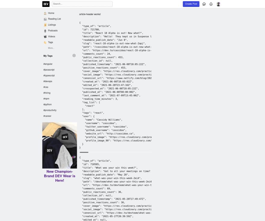 Dev.to Clone July 16