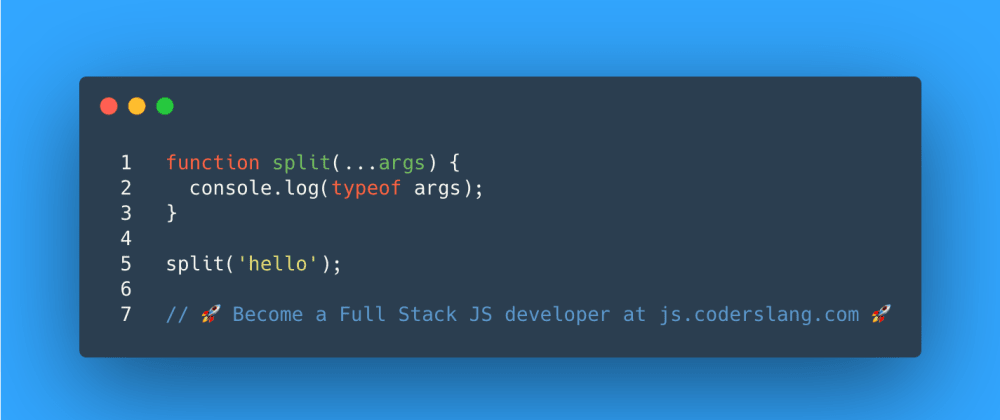 Cover image for JavaScript Interview Question #37: What's the type of a single argument provided to the split function?
