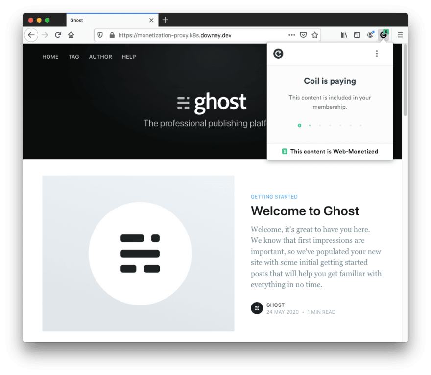 Firefox Browser showing a Ghost blog with Web Monetization capabilities