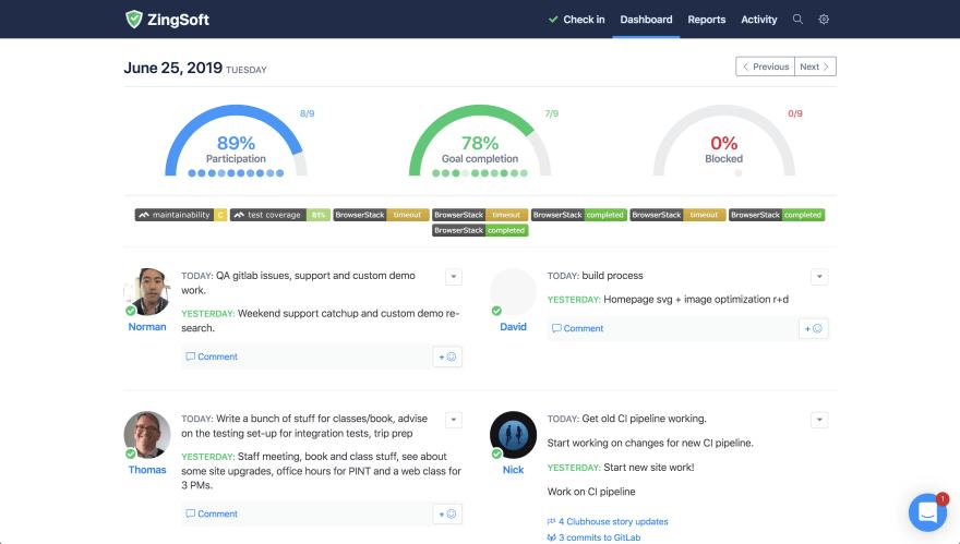 Screenshot of the StatusHero dashboard