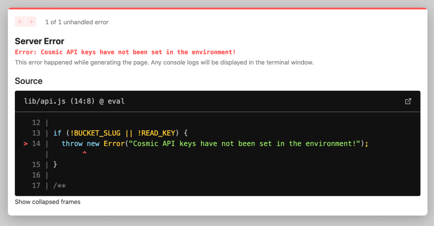 Screenshot of the app running locally but encountering an error due to no environment variables being set