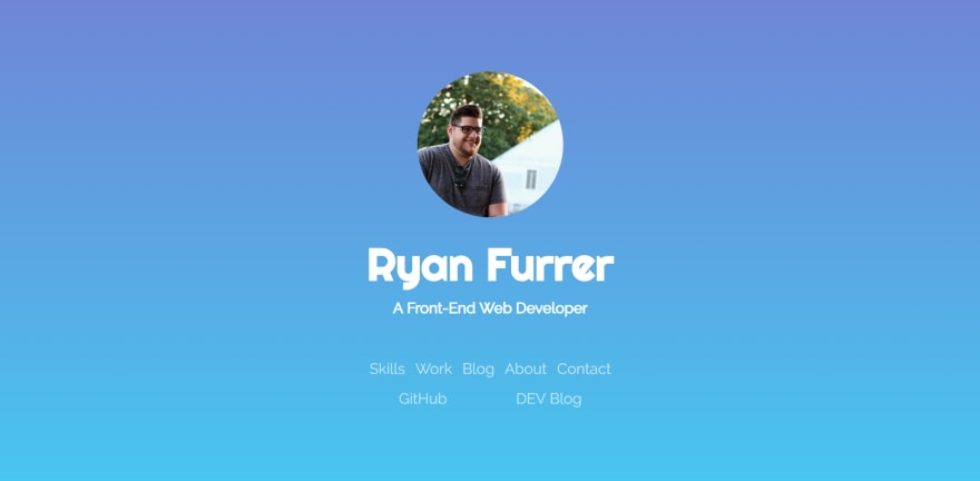 screenshot of Ryan Furrer's website banner