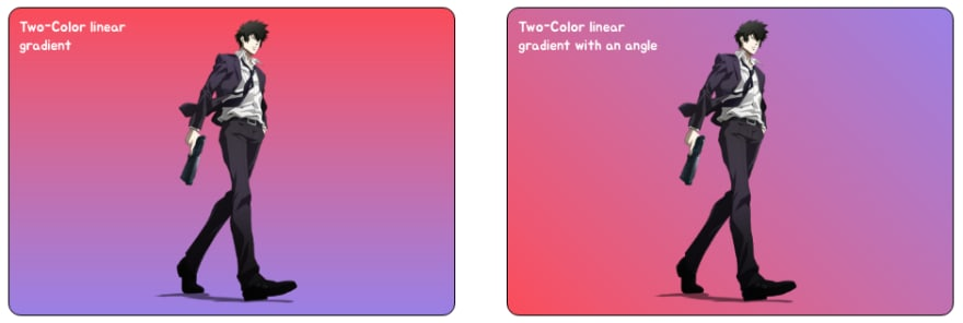 CSS Gradients Example - Using Two-Color Linear Gradients