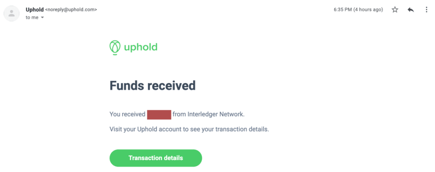 Payment Received Screen Shot