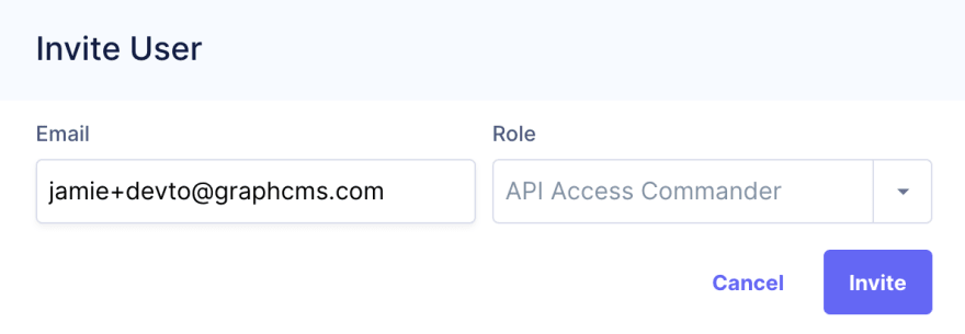 Invite API Access Commander dialog