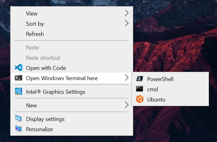 starting Windows Terminal from the context menu