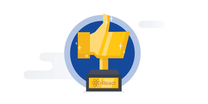 Main Image, React logo on thumbs up